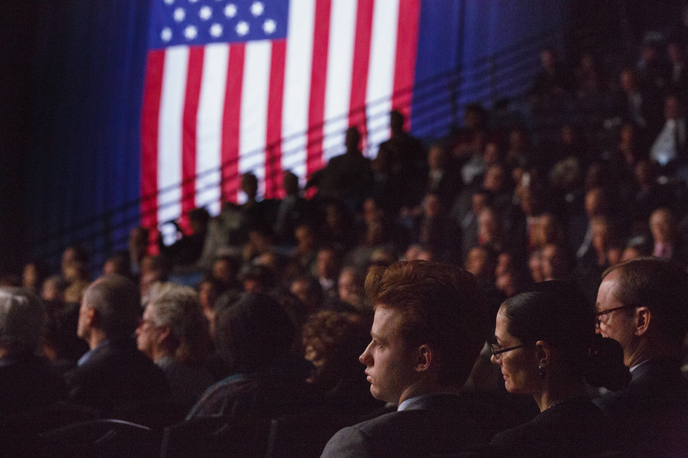 The audience listens to Secretary of State Jesse White's inaugural address Monday, Jan. 12, 2015 at the Prairie Capital Convention Center in Springfield, Ill. Rich Saal/The State Journal-Register