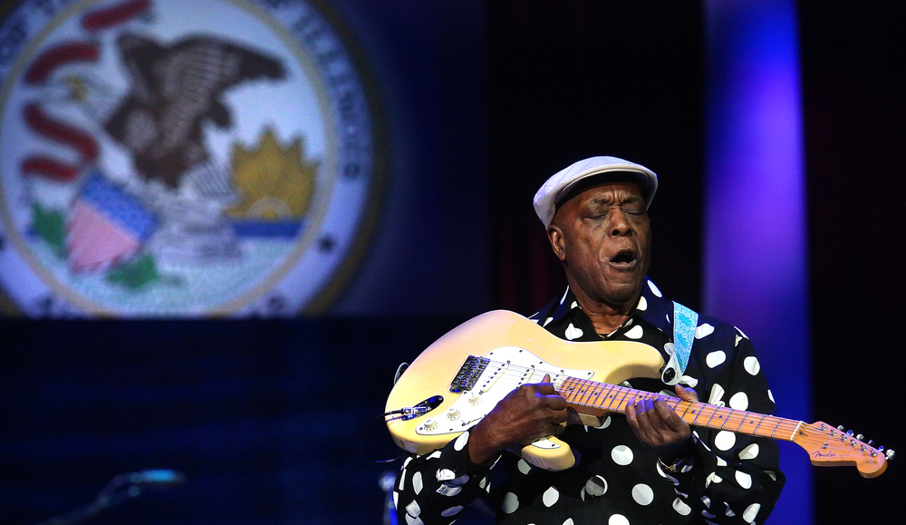 Blues guitarist and Rock and Roll Hall of Fame inductee Buddy Guy performs Monday night. Replacing the traditional inaugural ball, a concert with country singer Toby Keith as headliner took place at the Prairie Capital Convention Center in Springfield marking Bruce Rauner becoming the 42nd governor of Illinois Monday evening, Jan. 12, 2015. David Spencer/The State Journal-Register