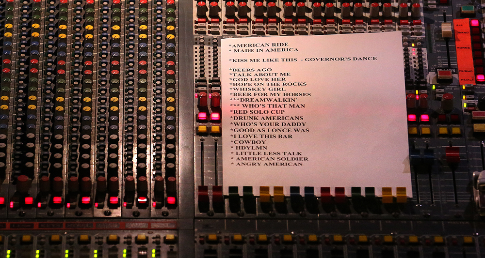 Part of the set list for Toby Keith lies on the main sound board in the rear of the convention center. Replacing the traditional inaugural ball, a concert with country singer Toby Keith as headliner took place at the Prairie Capital Convention Center in Springfield marking Bruce Rauner becoming the 42nd governor of Illinois Monday evening, Jan. 12, 2015. David Spencer/The State Journal-Register