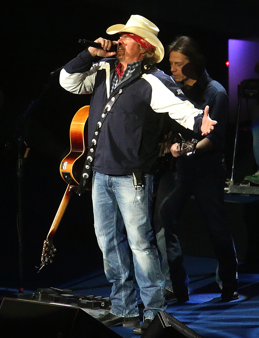 Toby Keith performs American Ride to open his set Monday night. Replacing the traditional inaugural ball, a concert with country singer Toby Keith as headliner took place at the Prairie Capital Convention Center in Springfield marking Bruce Rauner becoming the 42nd governor of Illinois Monday evening, Jan. 12, 2015. David Spencer/The State Journal-Register