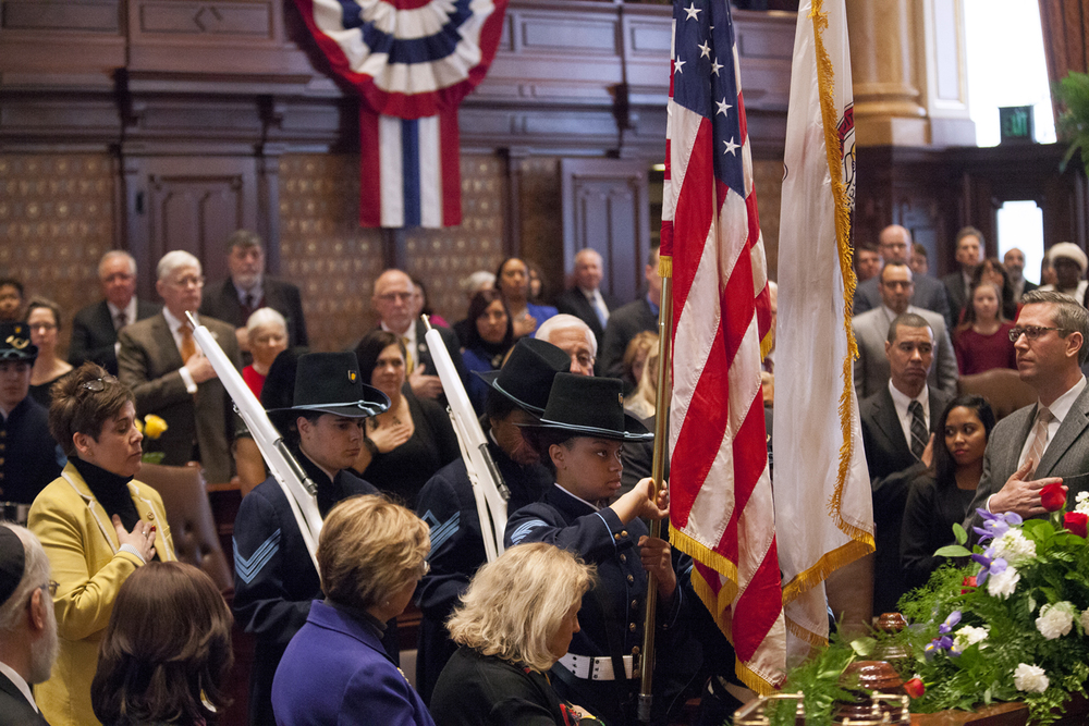 The Lincoln's Challenge Academy Color Guard presents the colors at the inauguration of the Illinois Senate at the Capitol Jan. 14, 2015. Rich Saal/The State Journal-Register