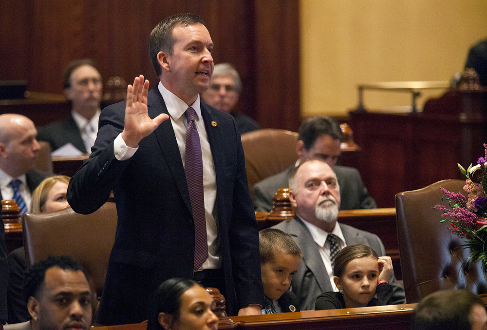 Sen. Andy Manar, D-Bunker Hill, is sworn in during the inauguration of the Illinois Senate at the Capitol Jan. 14, 2015. Rich Saal/The State Journal-Register