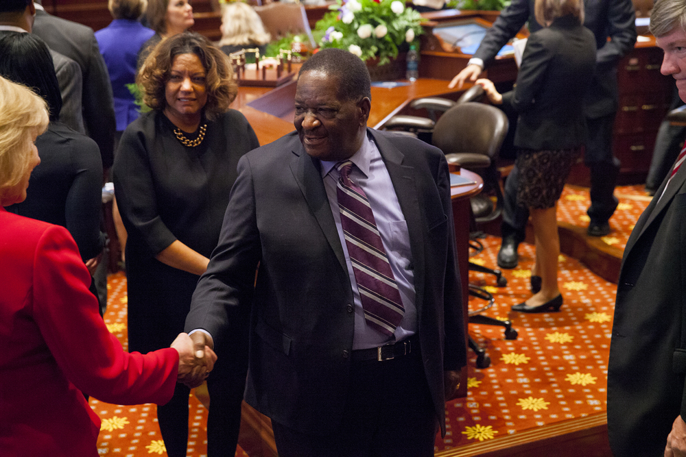 Former Sen. Emil Jones II and his wife, Dr. Lorrie Jones attended the inauguration of the Illinois Senate at the Capitol Jan. 14, 2015. Their son, Sen. Emil Jones III, serves in the Senate. Rich Saal/The State Journal-Register