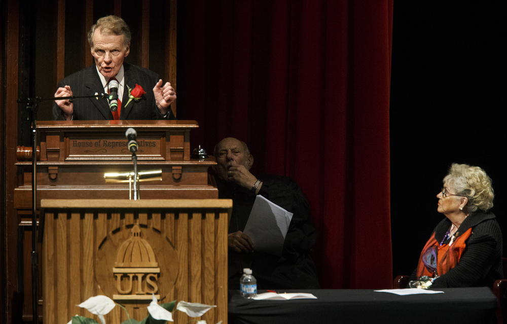 House Speaker Michael Madigan discusses security during his remarks after the inauguration of the Illinois House of Representatives Wednesday, Jan. 14, 2015. Madigan's wife Shirley is at right. Ted Schurter/The State Journal-Register
