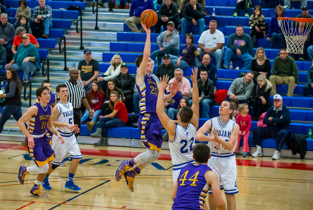 Williamsville's Harrison Creswell (25) puts up a floater against Auburn in the second half during the Sangamon County Tournament at  Lincoln Land Community College's Cass Gymnasium, Thursday, Jan. 15, 2015, in Springfield, Ill. Justin L. Fowler/The State Journal-Register