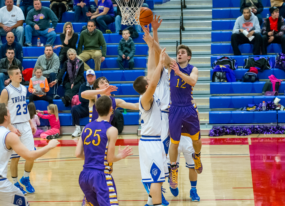 Williamsville's Matt Watson (12) goes up for a shot against Auburn in the second half during the Sangamon County Tournament at  Lincoln Land Community College's Cass Gymnasium, Thursday, Jan. 15, 2015, in Springfield, Ill. Justin L. Fowler/The State Journal-Register