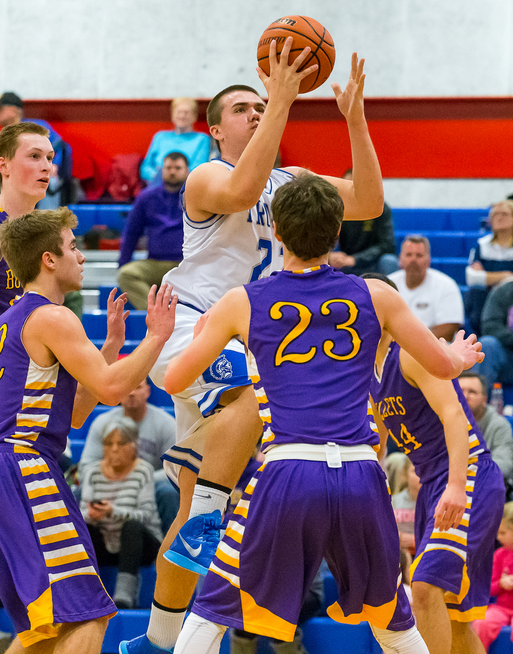 Auburn's Scott McDermand (22) goes in for a layup against Williamsville in the first half during the Sangamon County Tournament at  Lincoln Land Community College's Cass Gymnasium, Thursday, Jan. 15, 2015, in Springfield, Ill. Justin L. Fowler/The State Journal-Register