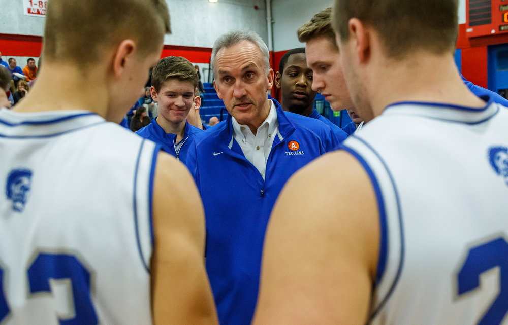 Auburn boys basketball head coach Doug Graven talks to his team prior to taking on Williamsville during the Sangamon County Tournament at  Lincoln Land Community College's Cass Gymnasium, Thursday, Jan. 15, 2015, in Springfield, Ill. Justin L. Fowler/The State Journal-Register