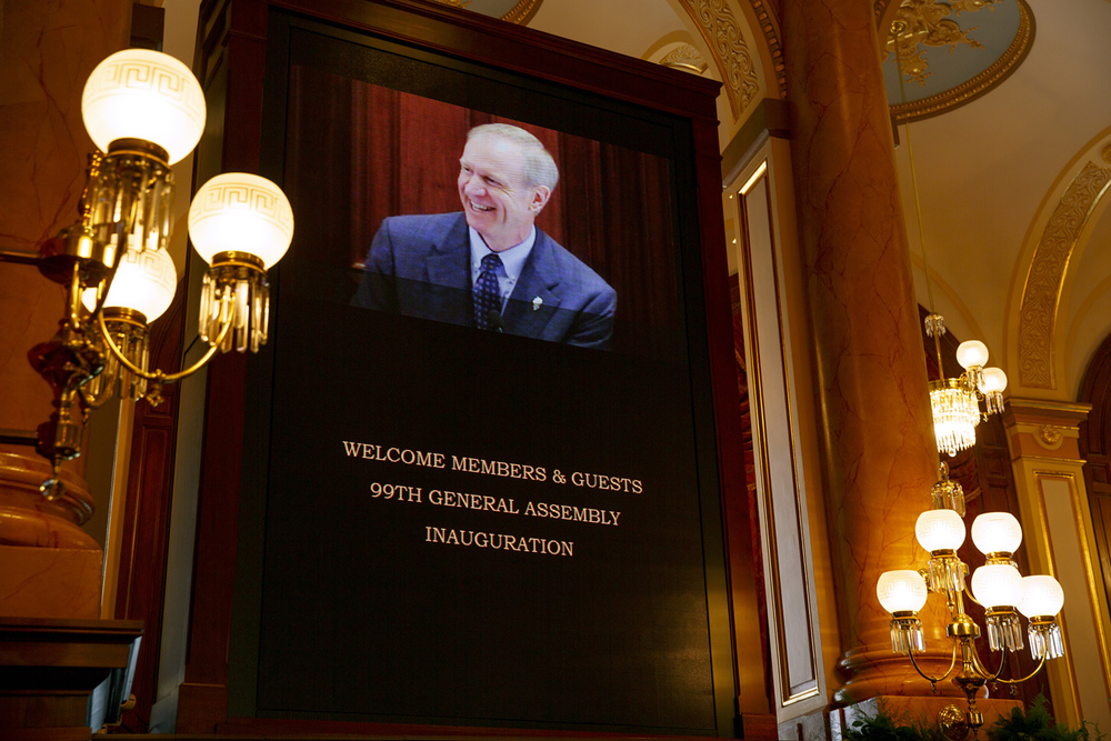 Gov. Bruce Rauner presided over the Senate at the beginning of the inauguration of the Illinois Senate at the Capitol Jan. 14, 2015. Rich Saal/The State Journal-Register