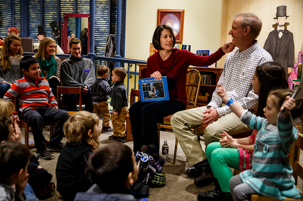 "Diana Rauner jokes that her husband, Illinois Gov.-elect Bruce Rauner, sometimes has whiskers as she reads the children's book ""Mr. Lincoln's Whiskers"" inside Mrs. Lincoln's Attic at the Abraham Lincoln Presidential Museum, Sunday, Jan. 11, 2015, in Springfield, Ill. Justin L. Fowler/The State Journal-Register"