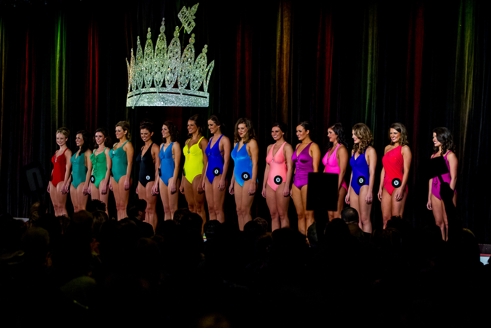 Contestants compete in the Beauty and Physique Competition during the 2015 Miss Illinois County Fair Queen Pageant at the Crowne Plaza, Sunday, Jan. 18, 2015, in Springfield, Ill. Justin L. Fowler/The State Journal-Register