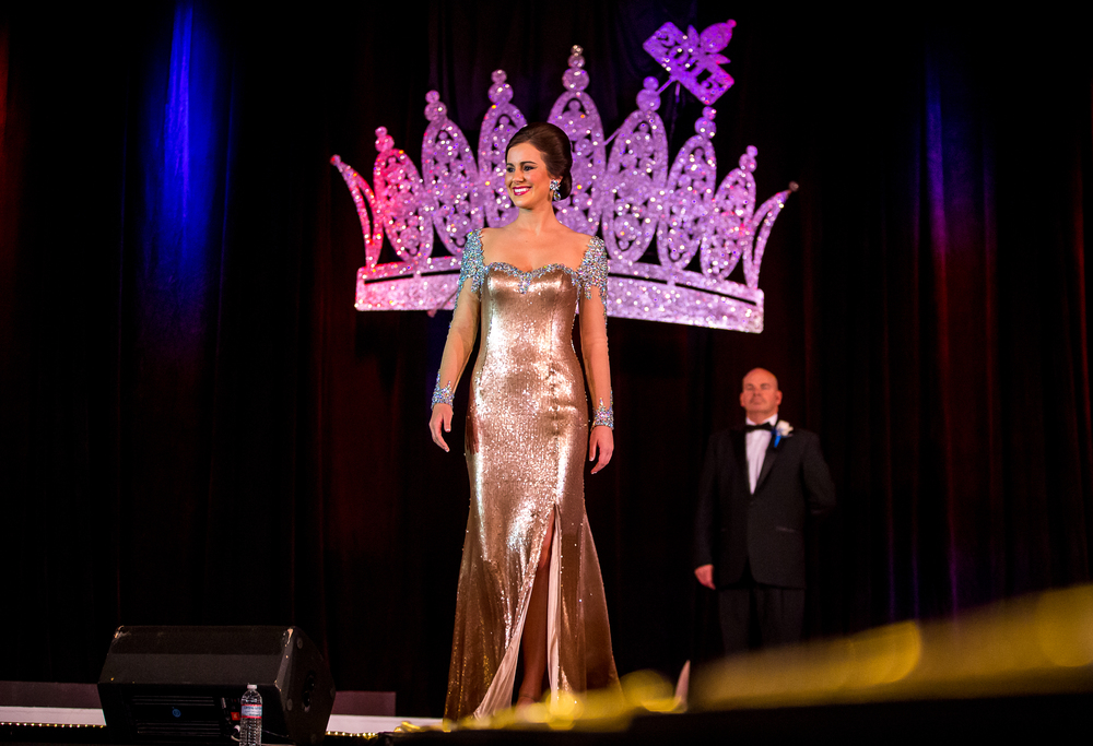 Miss Richland County Fair Queen 2014, Sadie Gassmann, of Olney, Ill., competes in the Stage Presence during the 2015 Miss Illinois County Fair Queen Pageant at the Crowne Plaza, Sunday, Jan. 18, 2015, in Springfield, Ill. Justin L. Fowler/The State Journal-Register