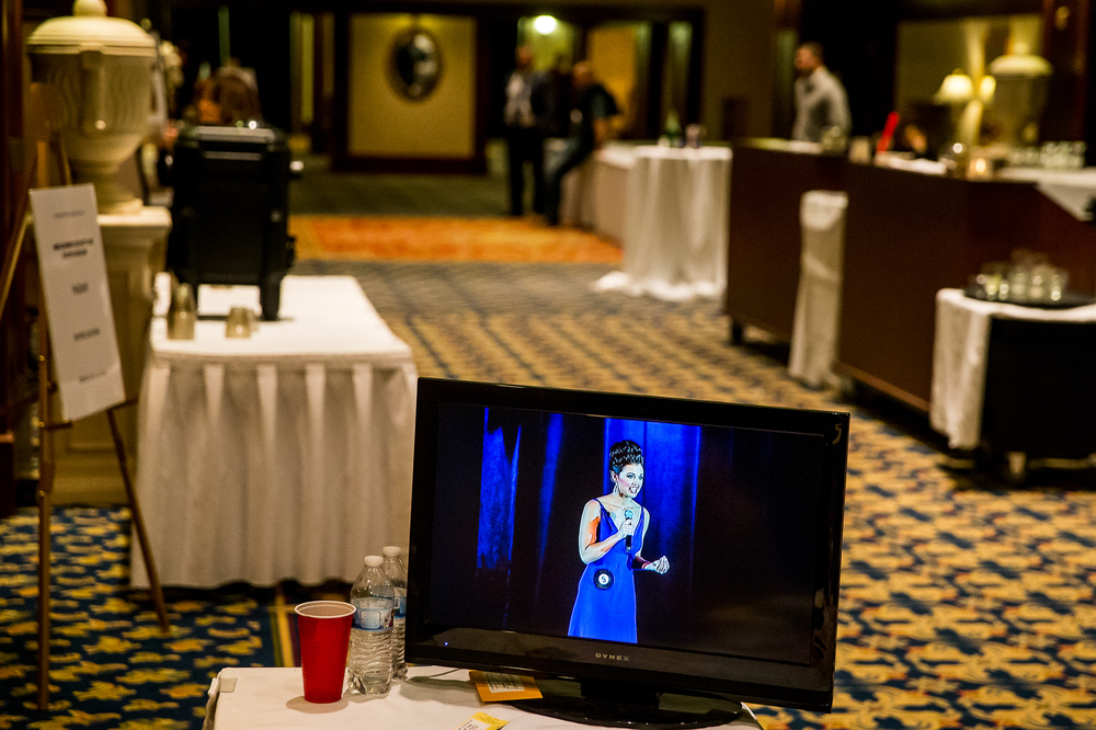 A live stream of Miss Schuyler County Fair Queen 2014, Melissa Ervin, of Rushville, Ill., on display in the lounge area during the Communication Skills Competition during the 2015 Miss Illinois County Fair Queen Pageant at the Crowne Plaza, Sunday, Jan. 18, 2015, in Springfield, Ill. Justin L. Fowler/The State Journal-Register