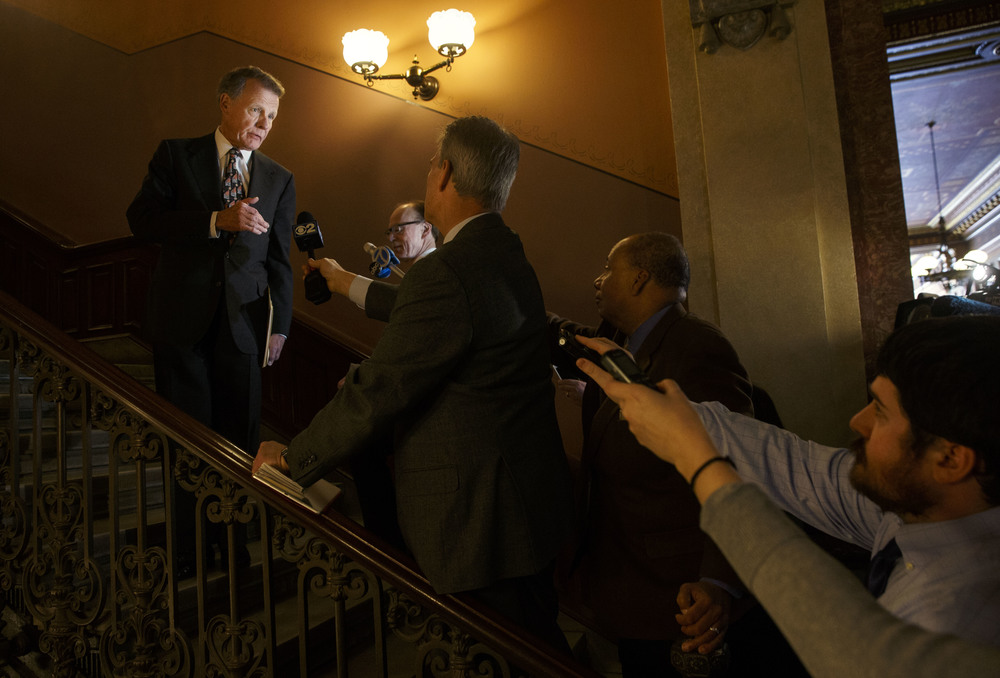 Illinois House Speaker Mike Madigan answers reporter's questions after a sit down meeting with Gov. Bruce Rauner at the Capitol Tuesday, Jan. 13, 2015. Democratic leaders said the meeting with the new Republican governor was both cordial and general. Ted Schurter/The State Journal-Register