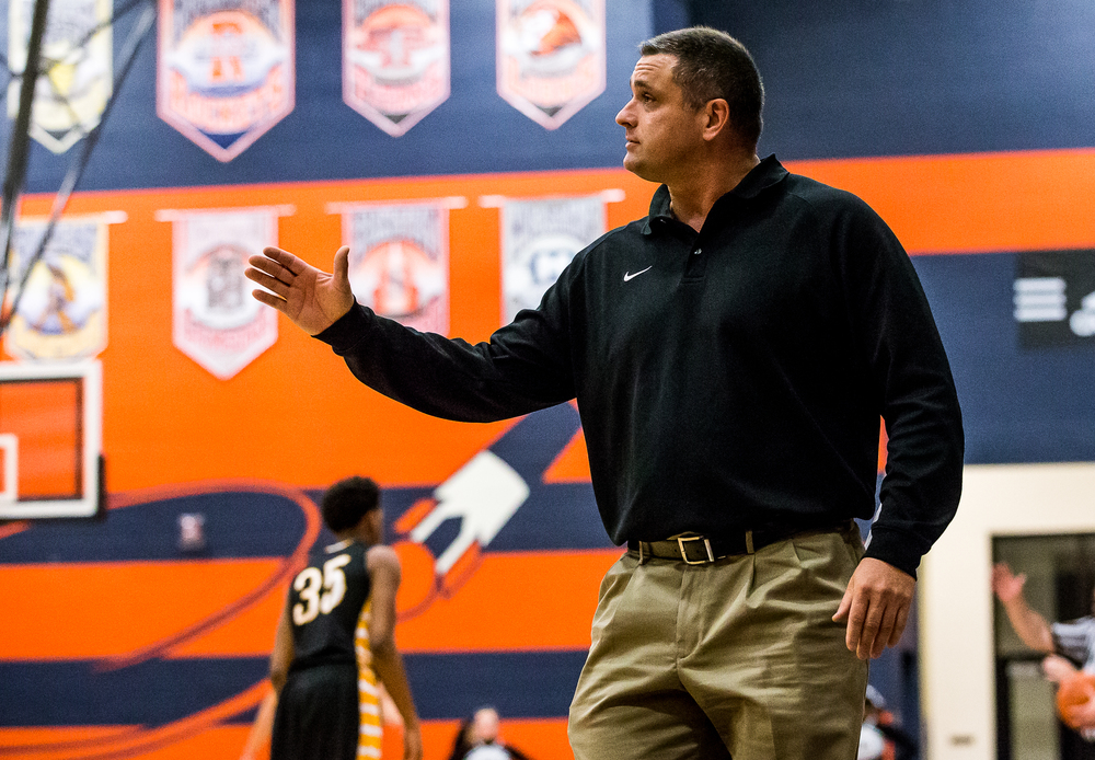 Glenwood boys basketball head coach Todd Blakeman calls out instructions as his team takes on Decatur Eisenhower in the second half during the CS8 Boys Basketball Tournament at the Rochester Athletic Complex, Monday, Jan. 19, 2015, in Springfield, Ill. Justin L. Fowler/The State Journal-Register