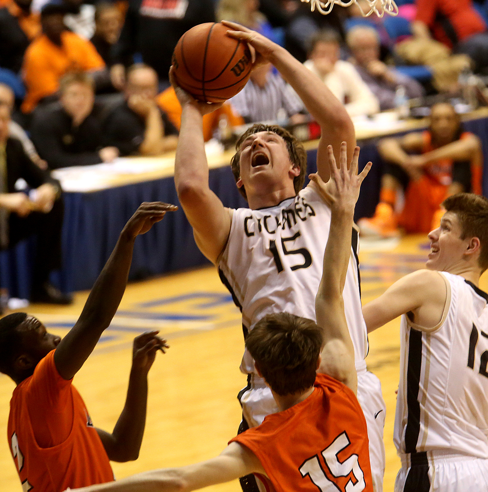 Sacred Heart-Griffin's Michael Zeigler puts up a shot during first half action. Lanphier High School defeated Sacred Heart-Griffin 73-42 during first night action at the Boys City Basketball Tournament at the Prairie Capital Convention Center in Springfield on Thursday, Jan. 22, 2015. David Spencer/The State Journal-Register