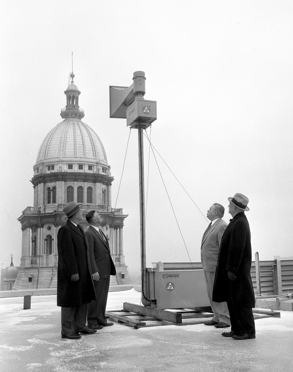 New air raid siren or weather/tornado warning siren rooftop near Illinois State Capitol, Jan. 25, 1957.