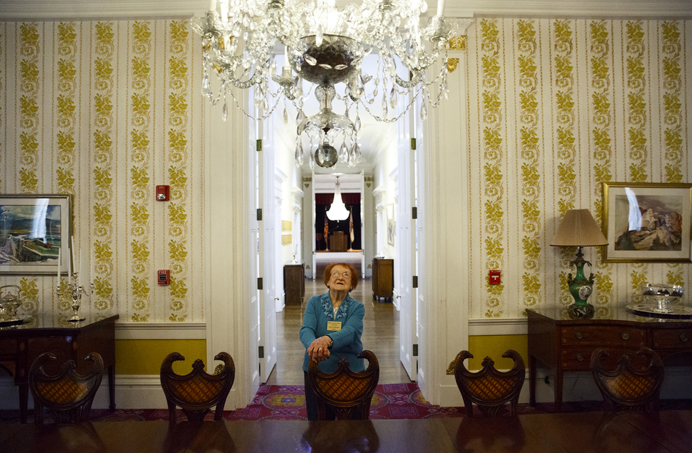 Helen Hoffman is dwarfed by the scale of the formal dining room in the Executive Mansion and the Waterford crystal chandlier that hangs overhead. In April, Hoffman will mark her 30th year as a docent for public tours in the mansion and in June, she'll turn 95. She's served through the administrations of five governors. Rich Saal/The State Journal-Register Read more at http://bit.ly/1xLtgcd