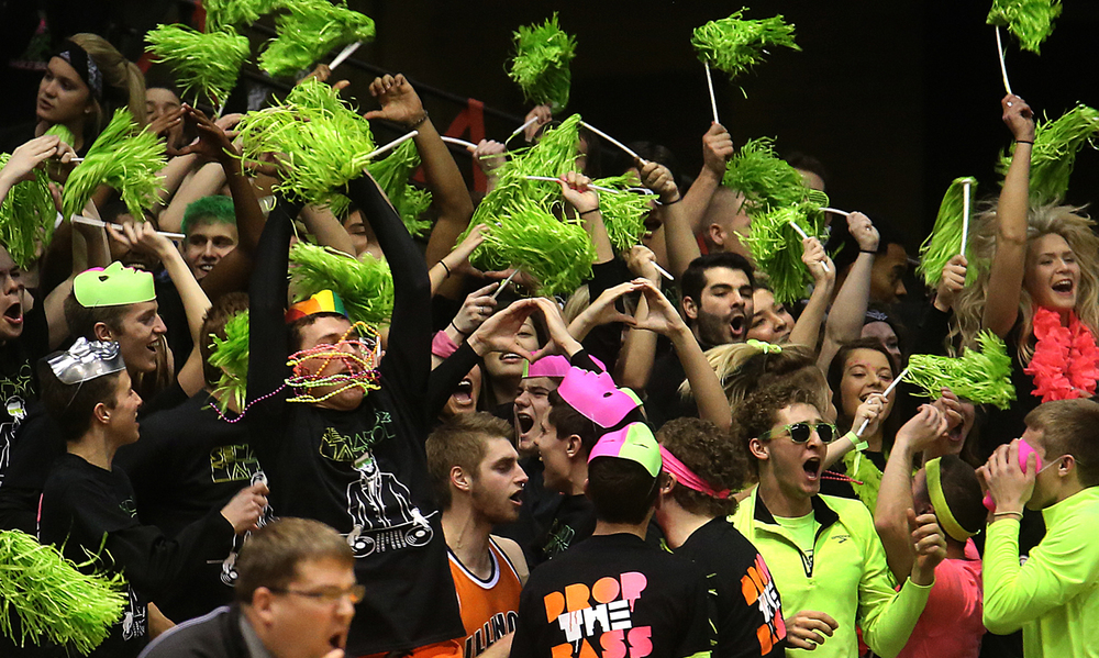 The Springfield student cheering section shows their enthusiasm. Springfield High School defeated Southeast 66-55 during first night action at the Boys City Basketball Tournament at the Prairie Capital Convention Center in Springfield on Thursday, Jan. 22, 2015. David Spencer/The State Journal-Register