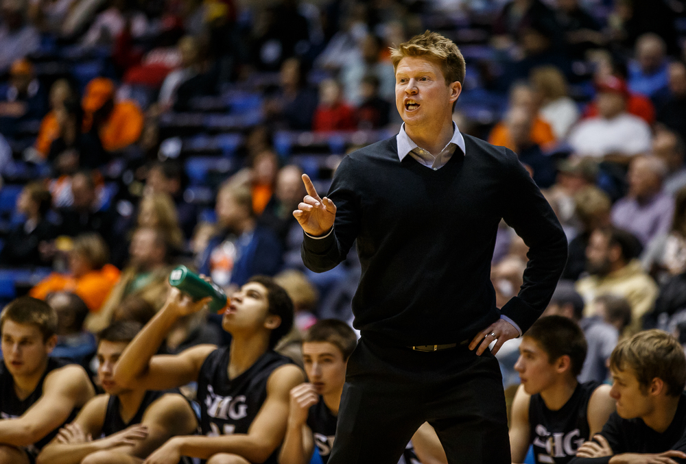 Sacred Heart-Griffin boys basketball head coach Blake Lucas gives a play into the team as they take on Southeast in the first half during game one of the 2015 Boys City Tournament at the Prairie Capital Convention Center, Friday, Jan. 23, 2015, in Springfield, Ill. Justin L. Fowler/The State Journal-Register