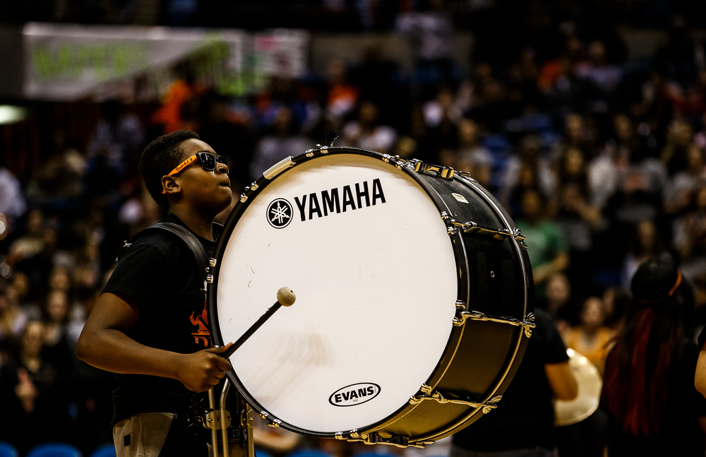 The Lanphier High School drum line performs at half time as the Lions take on Springfield during game two of the 2015 Boys City Tournament at the Prairie Capital Convention Center, Friday, Jan. 23, 2015, in Springfield, Ill. Justin L. Fowler/The State Journal-Register