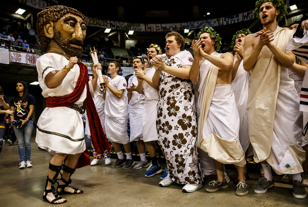 The Springfield Solon mascot dances with the student section as the Senators take on Lanphier in the first half during game two of the 2015 Boys City Tournament at the Prairie Capital Convention Center, Friday, Jan. 23, 2015, in Springfield, Ill. Justin L. Fowler/The State Journal-Register