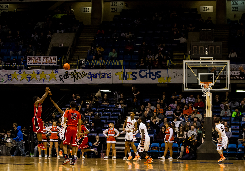 Springfield's Isaac Nelson (5) drains a three against Lanphier in the first half during game two of the 2015 Boys City Tournament at the Prairie Capital Convention Center, Friday, Jan. 23, 2015, in Springfield, Ill. Justin L. Fowler/The State Journal-Register