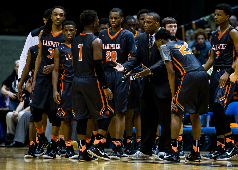 Lanphier head coach Blake Turner talks to his team during a timeout as the Lions take on Southeast in the first half during game two of the 2015 Boys City Tournament at the Prairie Capital Convention Center, Saturday, Jan. 24, 2015, in Springfield, Ill. Justin L. Fowler/The State Journal-Register