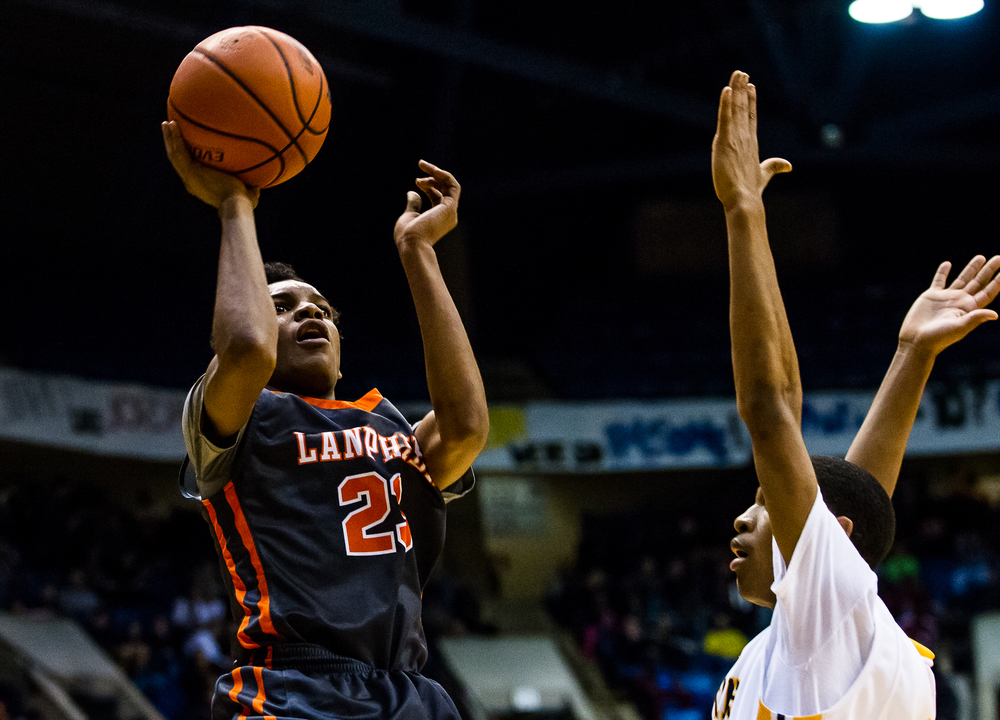 Lanphier's Aundrae Williams (23) puts up a shot against Southeast in the first half during game two of the 2015 Boys City Tournament at the Prairie Capital Convention Center, Saturday, Jan. 24, 2015, in Springfield, Ill. Justin L. Fowler/The State Journal-Register