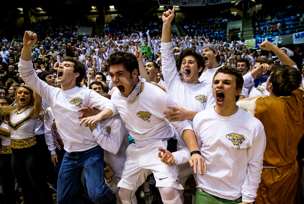 Sacred Heart-Griffin senior Nick Martin, second from left, screams out with his classmates as the Cyclone student section erupts in the second half during game one of the 2015 Boys City Tournament at the Prairie Capital Convention Center, Saturday, Jan. 24, 2015, in Springfield, Ill. Justin L. Fowler/The State Journal-Register