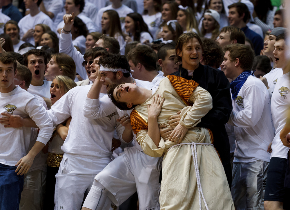 The Sacred Heart-Griffin student section reacts after a dunk from Avery Andrews as the Cyclones take on Springfield in the second half during game one of the 2015 Boys City Tournament at the Prairie Capital Convention Center, Saturday, Jan. 24, 2015, in Springfield, Ill. Justin L. Fowler/The State Journal-Register