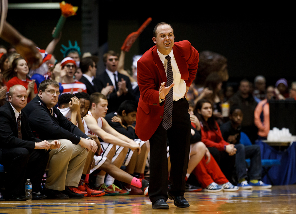 Springfield boys basketball head coach Matt Reed gives instructions to his team as they take on Sacred Heart-Griffin in the second half during game one of the 2015 Boys City Tournament at the Prairie Capital Convention Center, Saturday, Jan. 24, 2015, in Springfield, Ill. Justin L. Fowler/The State Journal-Register
