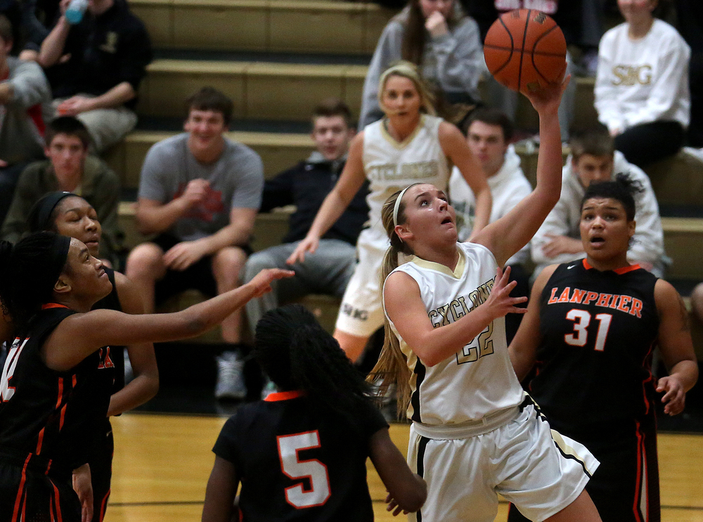 SHG player Katie McLean puts up a shot late in second half action. Sacred Heart Griffin defeated Lanphier 43-29 during second night action at the Girls City Basketball Tournament held at Belz Gym at Sacred Heart-Griffin's west campus in Springfield on Wednesday evening, Jan. 28, 2015. David Spencer/The State Journal-Register