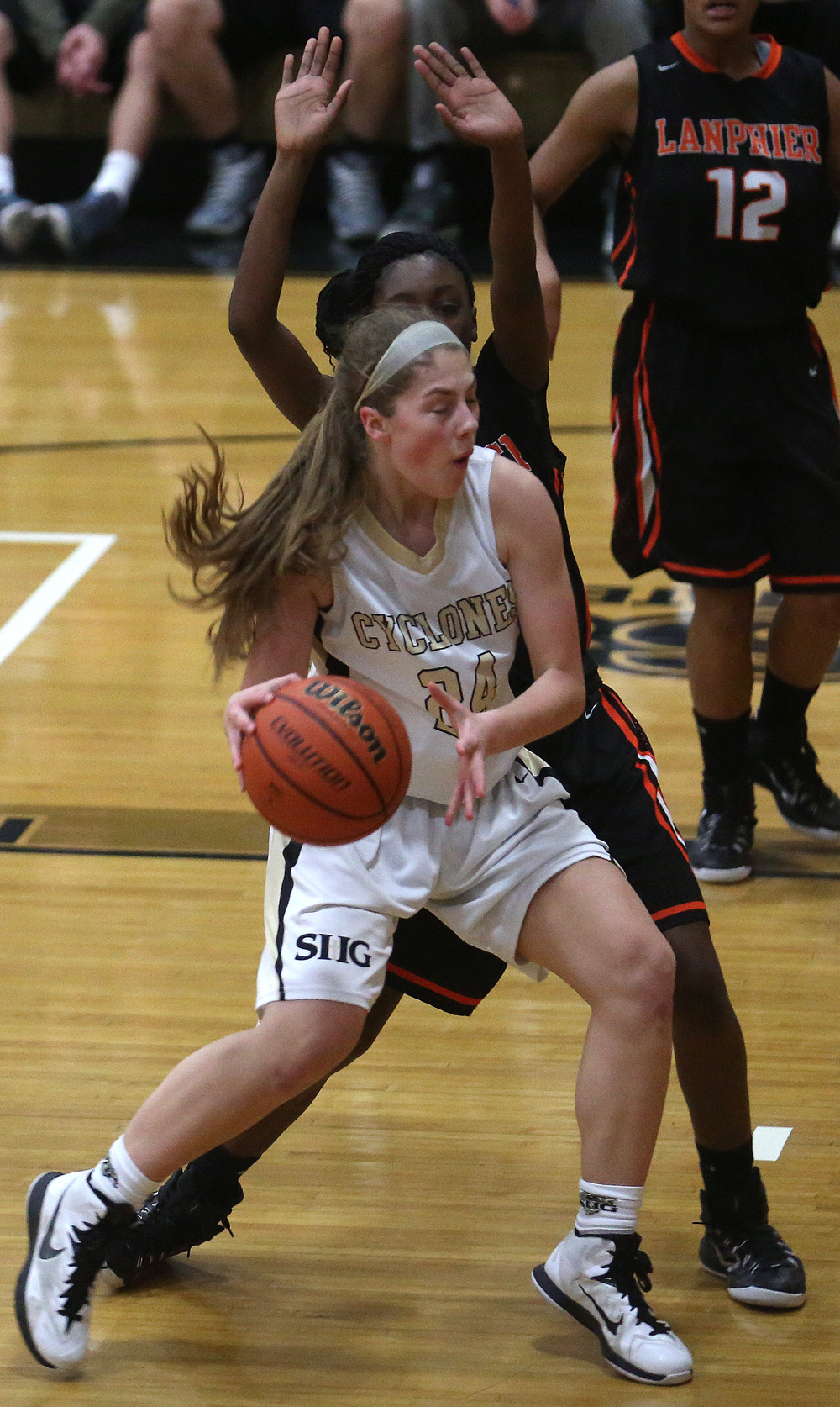 SHG player Anna Lowis prepares to put up a shot. Sacred Heart Griffin defeated Lanphier 43-29 during second night action at the Girls City Basketball Tournament held at Belz Gym at Sacred Heart-Griffin's west campus in Springfield on Wednesday evening, Jan. 28, 2015. David Spencer/The State Journal-Register