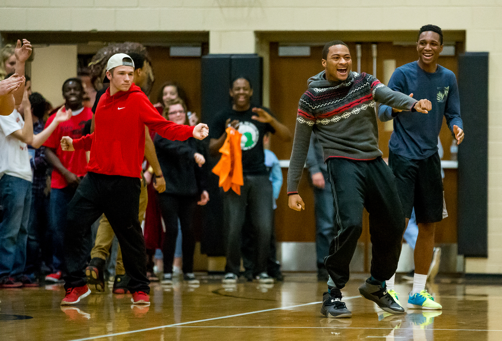 Fans from the Springfield High student section try to encourage Sacred Heart-Griffin into a dance off during halftime of the 2015 Girls City Tournament at Jim Belz Gymnasium, Thursday, Jan. 29, 2015, in Springfield, Ill. Justin L. Fowler/The State Journal-Register