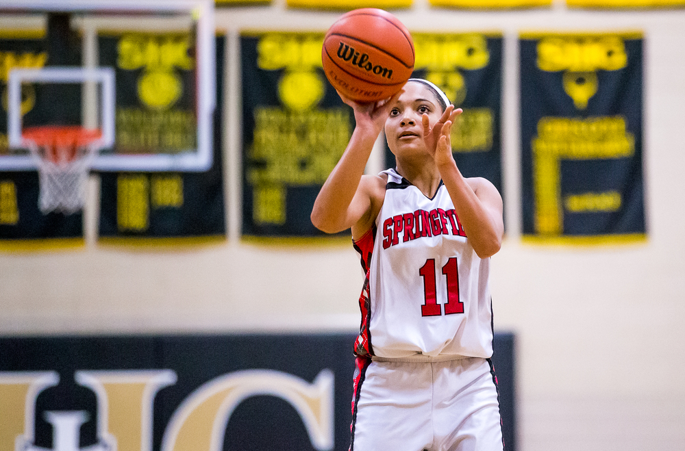Springfield's Kyra Webster (11) fires off a shot against Springfield in the first half during the 2015 Girls City Tournament at Jim Belz Gymnasium, Thursday, Jan. 29, 2015, in Springfield, Ill. Justin L. Fowler/The State Journal-Register