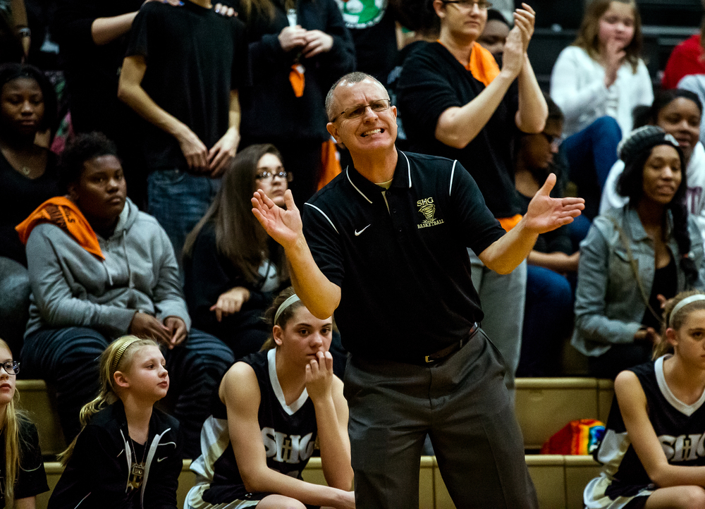 Sacred Heart-Griffin girls basketball head coach Steve Klunick reacts after a foul against SHG as they take on Springfield in the first half during the 2015 Girls City Tournament at Jim Belz Gymnasium, Thursday, Jan. 29, 2015, in Springfield, Ill. Justin L. Fowler/The State Journal-Register
