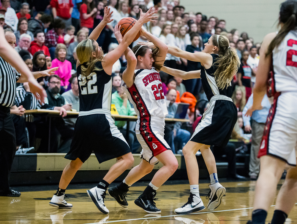 Springfield's Sarah Cross (22) is swarmed by Sacred Heart-Griffin's Katie McLean (22) and Catie Eck (32) forcing a turnover in the first half during the 2015 Girls City Tournament at Jim Belz Gymnasium, Thursday, Jan. 29, 2015, in Springfield, Ill. Justin L. Fowler/The State Journal-Register