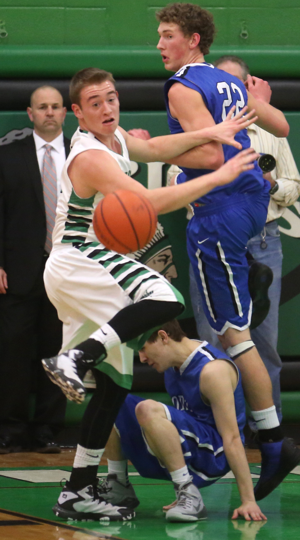 Athens player Eric Freer prepares to pursue a loose ball. Petersburg PORTA defeated Athens 64-32 in boys basketball action at Athen's gym in Athens on Tuesday evening, Feb. 3, 2015. David Spencer/The State Journal-Register