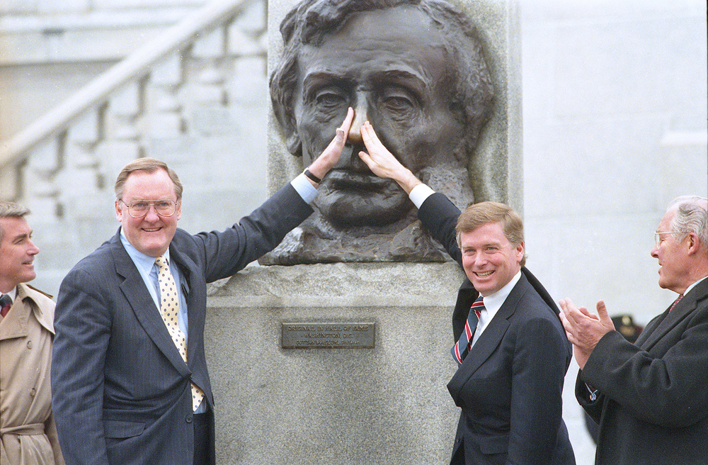 Gov. James Thompson and Vice President Dan Quayle rub Lincoln's nose, with Illinois Secretary of State Jim Edgar, left and Congressman Bob Michel, Feb. 13, 1989. File/The State Journal-Register