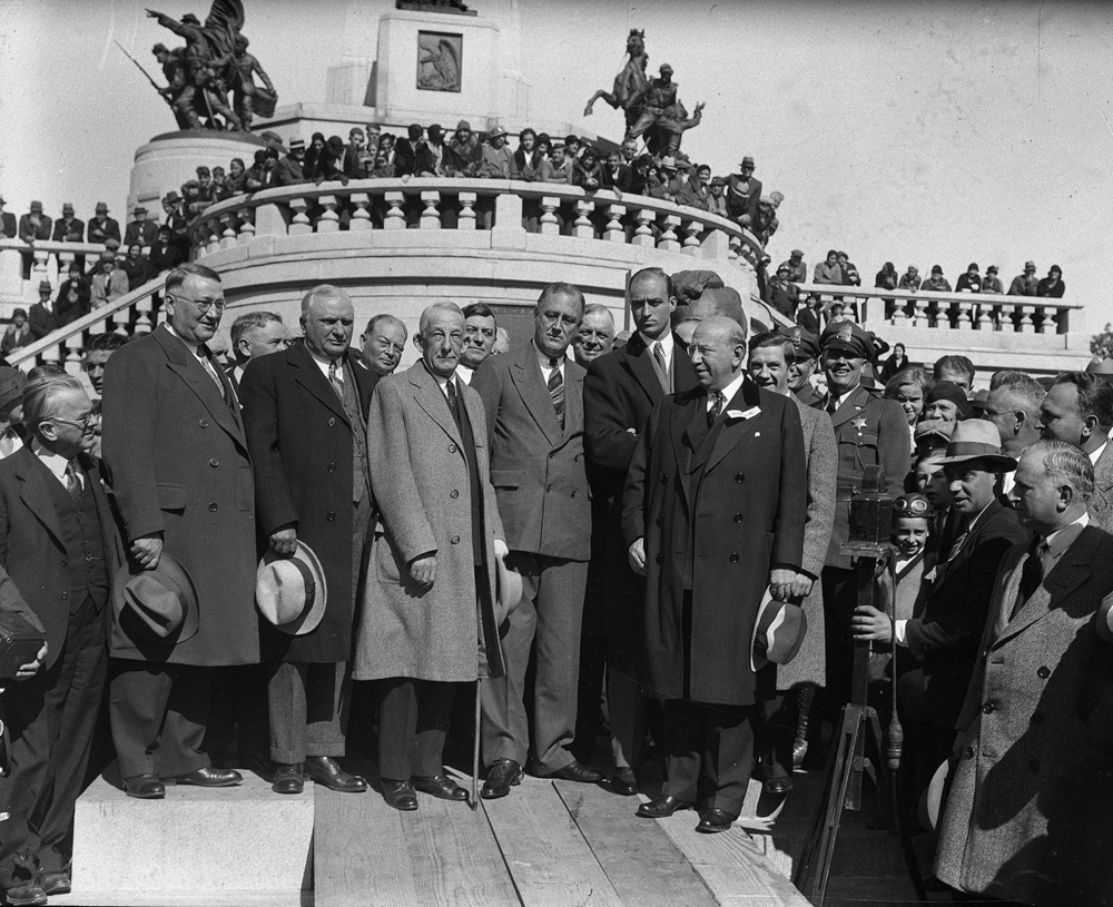 Franklin D. Roosevelt, center, on campaign stop for first term as president, with Republican Gov. Louis Emmerson, left of Roosevelt, and Henry Horner, who was running against Emmerson for governor, two to the right of Roosevelt, Oct. 21, 1932. File/The State Journal-Register