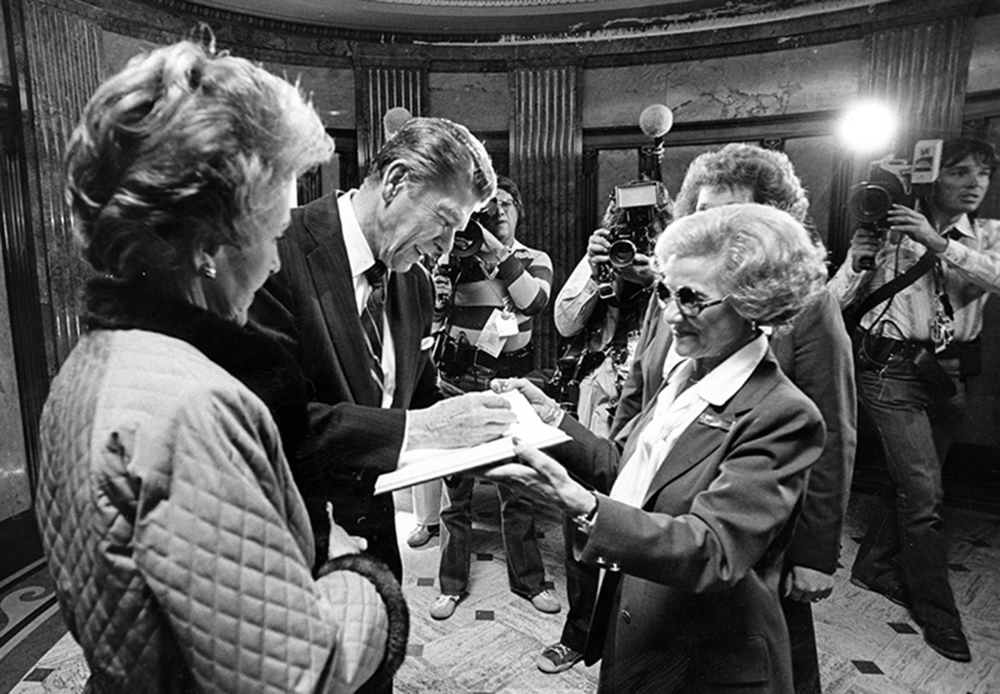 Republican presidential candidate Ronald Reagan and his wife Nancy Reagan signed the guest register after paying respects at the Lincoln Tomb Oct. 18, 1980. 