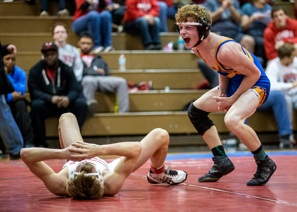 Riverton's Chris Whaley reacts after defeating Glenwood's Brady Thompson in the 120 pound bout during the Springfield Class 2A wrestling regional at the Willard Duey Gymnasium, Saturday, Feb. 7, 2015, in Springfield , Ill. Justin L. Fowler/The State Journal-Register