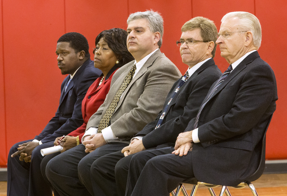 Springfield mayoral candidates, from left, Samuel Johnson, Gail Simpson, Paul Palazzolo, Jim Langfelder and Mike Houston listen to a question at the Springfield Mayoral Candidate Forum at Springfield Ball Charter School Monday, Feb. 2, 2015. Ted Schurter/The State Journal-Register
