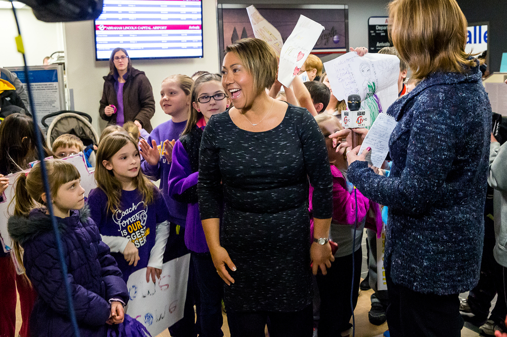 Sonya Jones, a contest on the Biggest Loser and physical education teacher and coach at Sherman Elementary School, is surrounded by young supporters as she arrives at the Abraham Lincoln Capital Airport, Monday, Feb. 2, 2015, in Springfield, Ill. Jones arrived home to a crowd of supporters after finishing second in the television show competition. Justin L. Fowler/The State Journal-Register