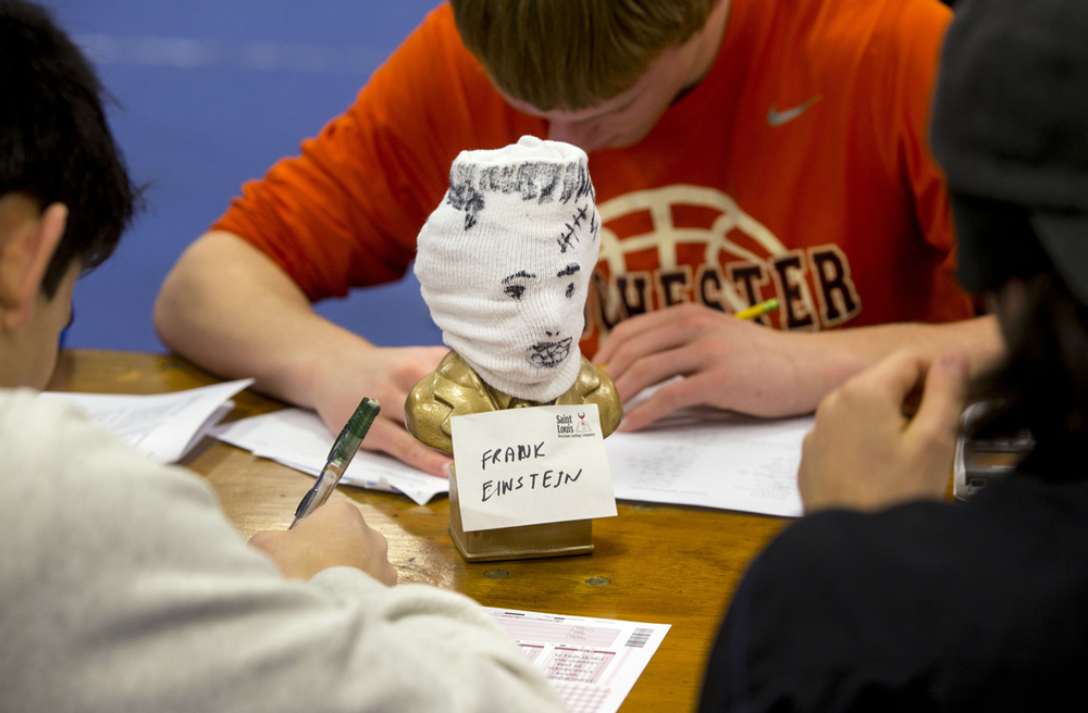 The Rochester High School team kept a mascot, Frank Einstein, on their table during the Worldwide Youth in Science and Engineering (WYSE) Academic Challenge at Lincoln Land Community College Tuesday, February 3, 2015. Frank bore a striking resemblance to a bust of Albert Einstein that recently  disappeared from the high school. Ted Schurter/The State Journal-Register
