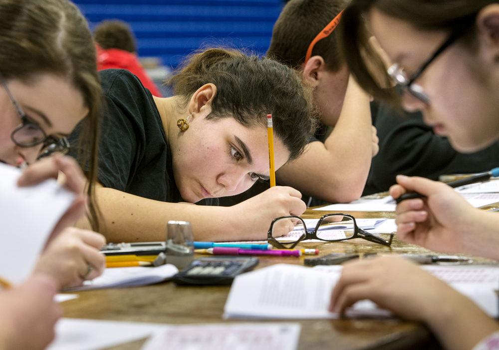 Lanphier High School senior Emma Lasley participates in the Worldwide Youth in Science and Engineering (WYSE) Academic Challenge at Lincoln Land Community College Tuesday, February 3, 2015. Ted Schurter/The State Journal-Register