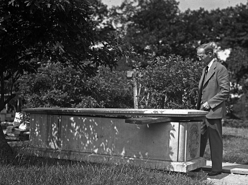 Fay views the original Lincoln burial vault during reconstruction of the tomb, Sept. 16, 1932.