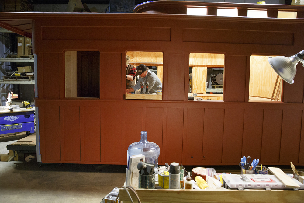 Bob Wonderling and Jerry Mennenga work inside the funeral car, Jan. 29, 2015. Rich Saal/The State Journal-Register