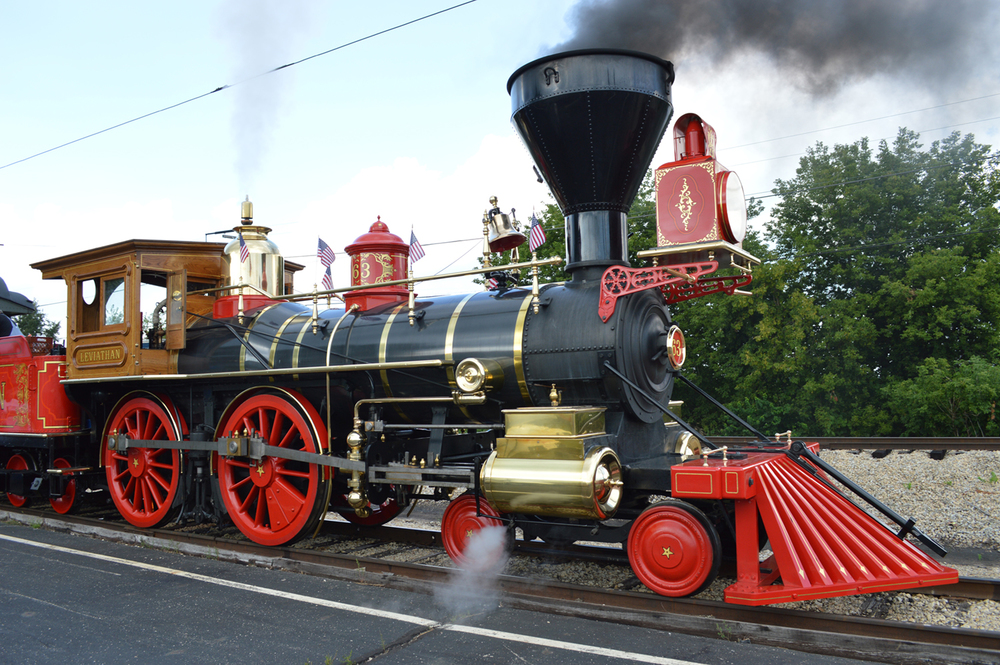 The Leviathan, a full-scale working steam locomotive, was made by Dave Kloke and will pull the funeral car. Photo courtesy Historic Railroad Equipment Association
